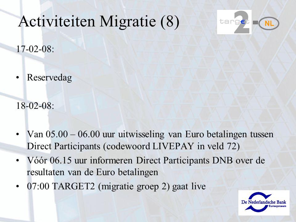 Activiteiten Migratie (8) 17-02-08: Reservedag 18-02-08: Van 05.00 – 06.00 uur uitwisseling van Euro betalingen tussen Direct Participants (codewoord