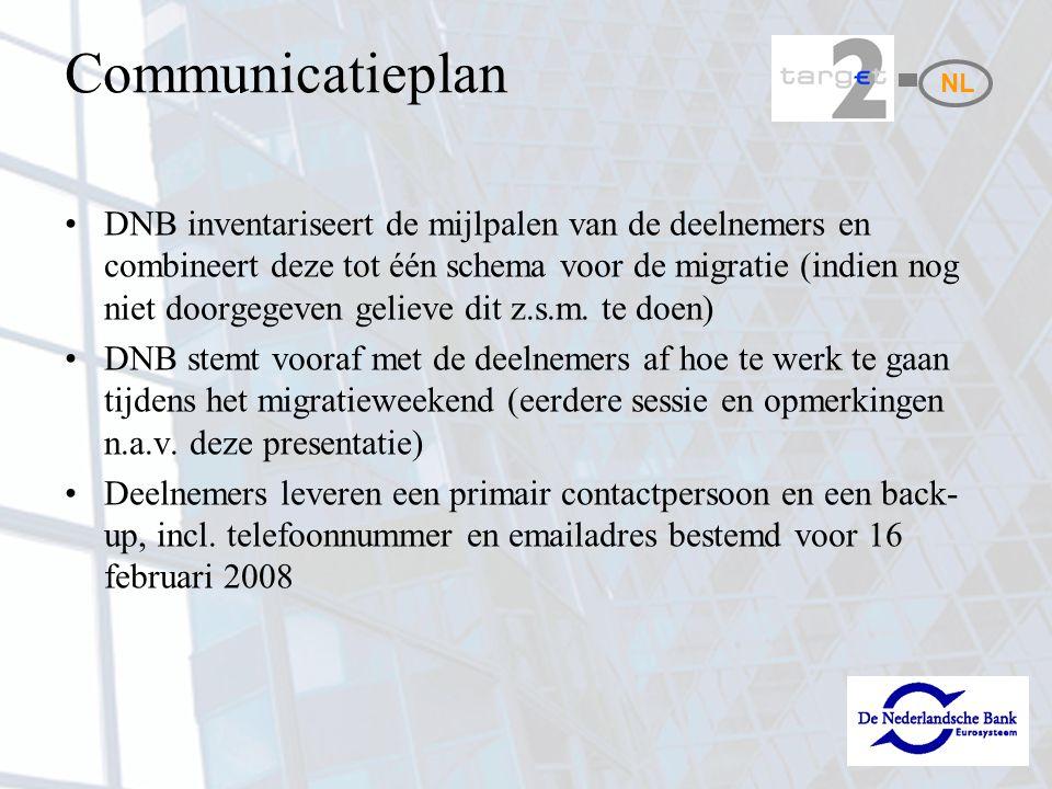 Communicatieplan DNB inventariseert de mijlpalen van de deelnemers en combineert deze tot één schema voor de migratie (indien nog niet doorgegeven gel