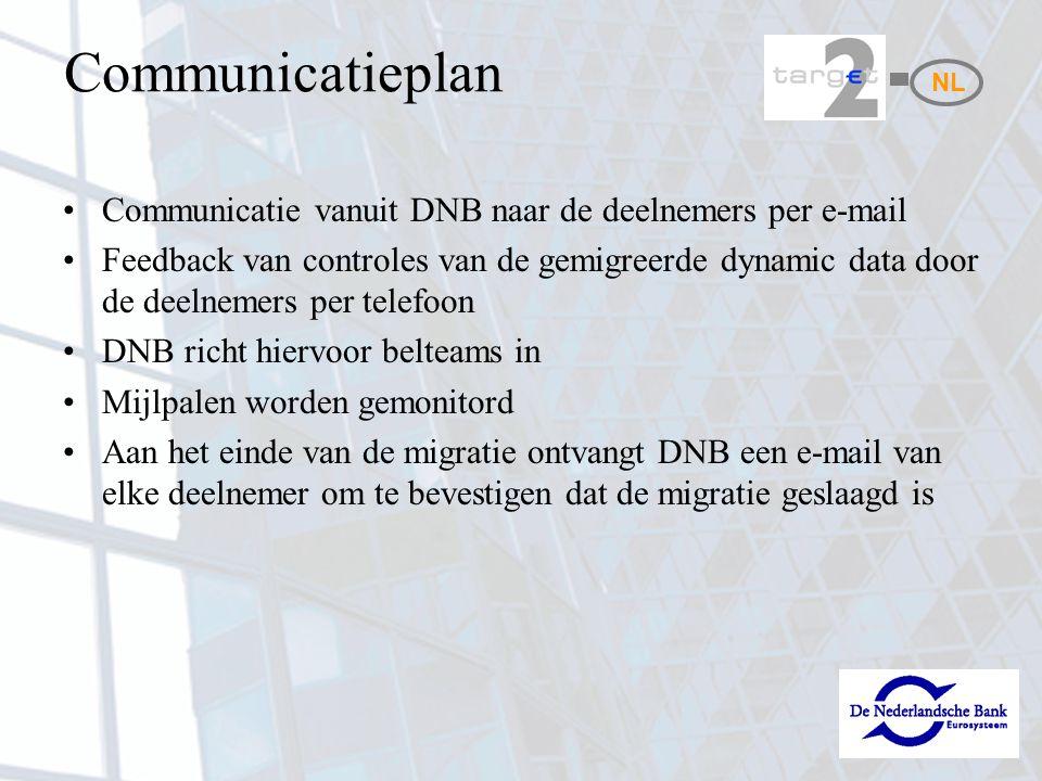 Communicatieplan Communicatie vanuit DNB naar de deelnemers per e-mail Feedback van controles van de gemigreerde dynamic data door de deelnemers per telefoon DNB richt hiervoor belteams in Mijlpalen worden gemonitord Aan het einde van de migratie ontvangt DNB een e-mail van elke deelnemer om te bevestigen dat de migratie geslaagd is NL