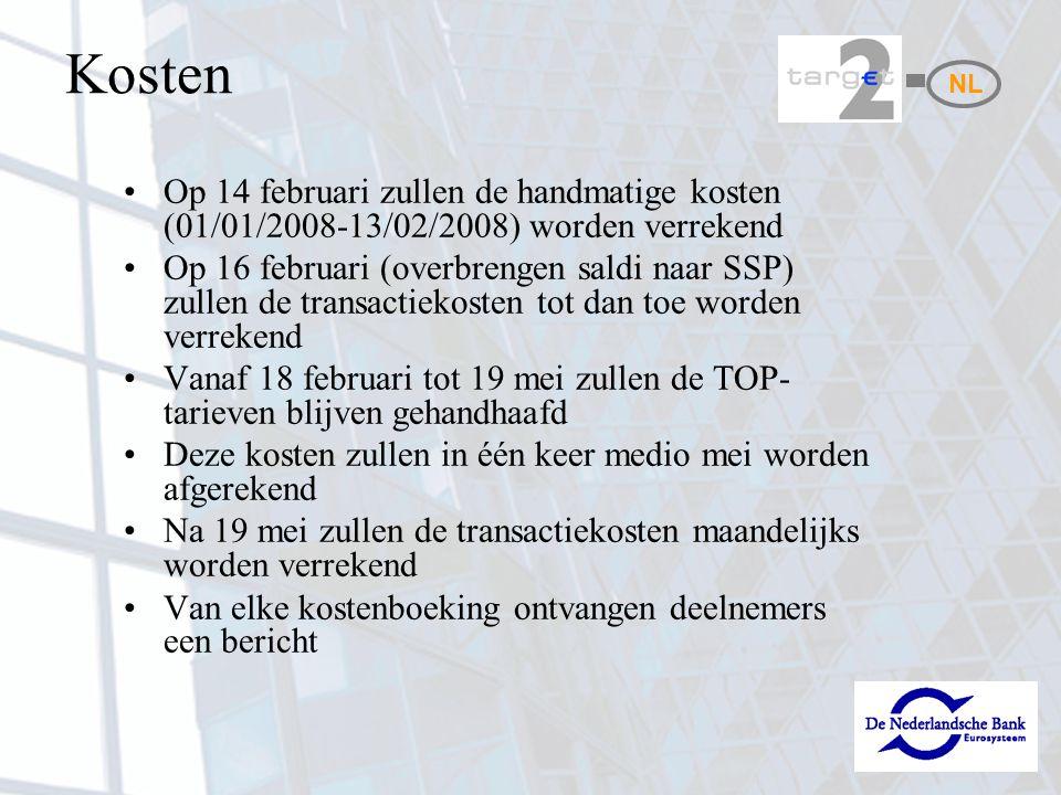 Kosten Op 14 februari zullen de handmatige kosten (01/01/2008-13/02/2008) worden verrekend Op 16 februari (overbrengen saldi naar SSP) zullen de trans