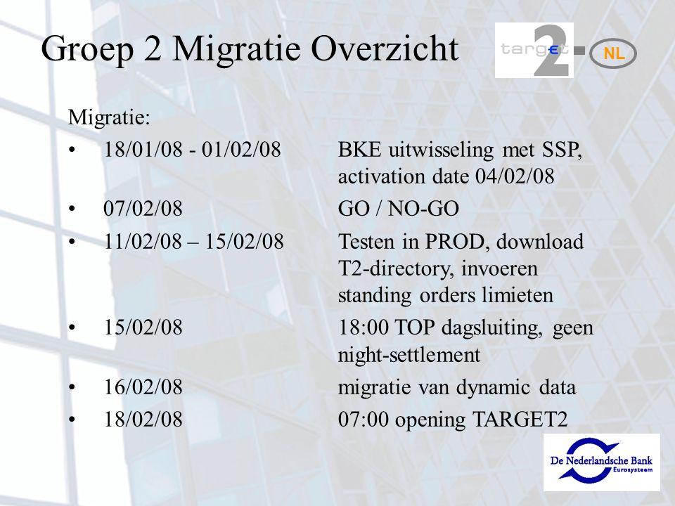NL Migratie: 18/01/08 - 01/02/08BKE uitwisseling met SSP, activation date 04/02/08 07/02/08GO / NO-GO 11/02/08 – 15/02/08Testen in PROD, download T2-directory, invoeren standing orders limieten 15/02/0818:00 TOP dagsluiting, geen night-settlement 16/02/08migratie van dynamic data 18/02/0807:00 opening TARGET2 Groep 2 Migratie Overzicht