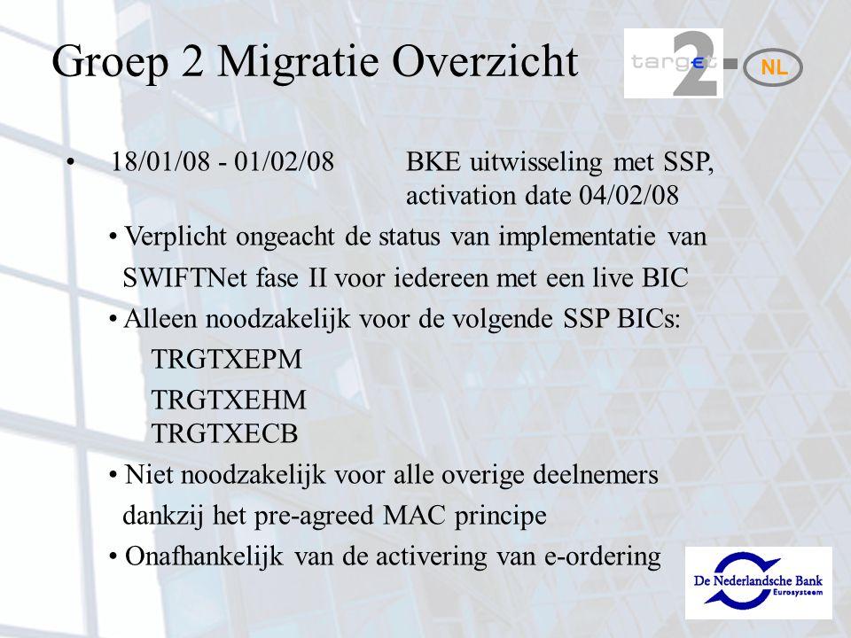 Activiteiten Migratie (8) 17-02-08: Reservedag 18-02-08: Van 05.00 – 06.00 uur uitwisseling van Euro betalingen tussen Direct Participants (codewoord LIVEPAY in veld 72) Vóór 06.15 uur informeren Direct Participants DNB over de resultaten van de Euro betalingen 07:00 TARGET2 (migratie groep 2) gaat live NL