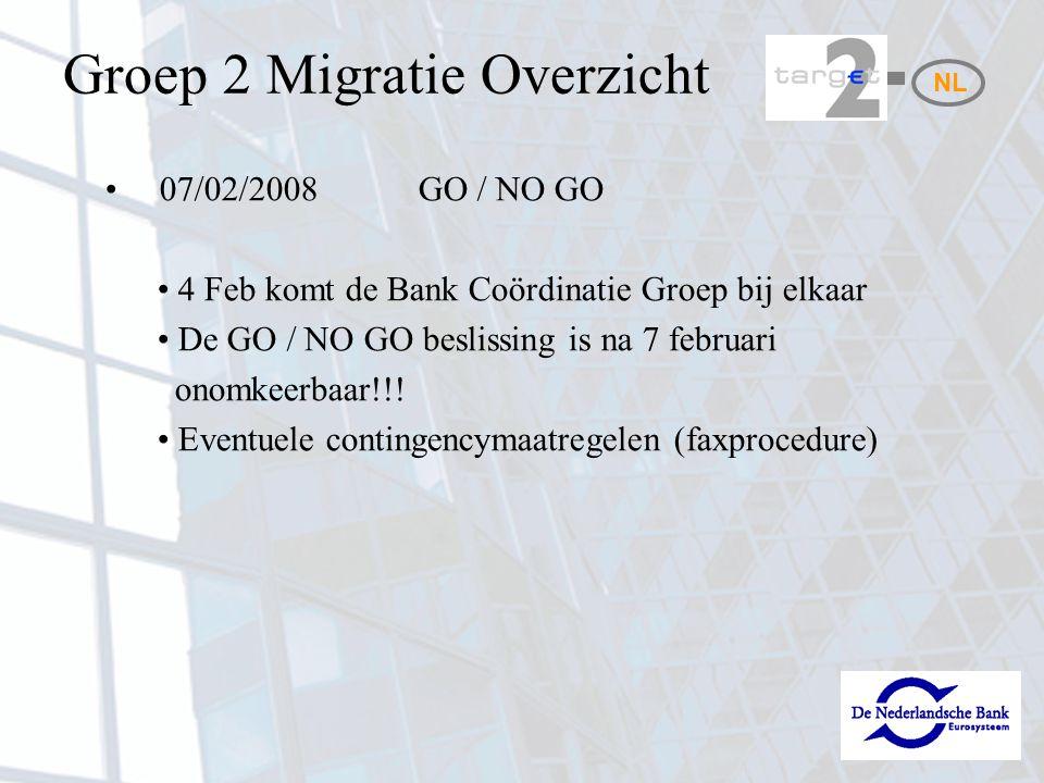 Activiteiten Migratie (1) 04-02-08 / 15-02-08: Aanloggen op ICM en controle van eigen Static Data –https://trgt-papss.ssp.swiftnet.sipn.swift.com voor ICM 08-02-08: Interim versie van de T2 directory is beschikbaar; hierin zijn de wijzigingen mbt de migratie nog niet verwerkt (bedoeld om te zien of de DIR opgehaald kan worden) NL