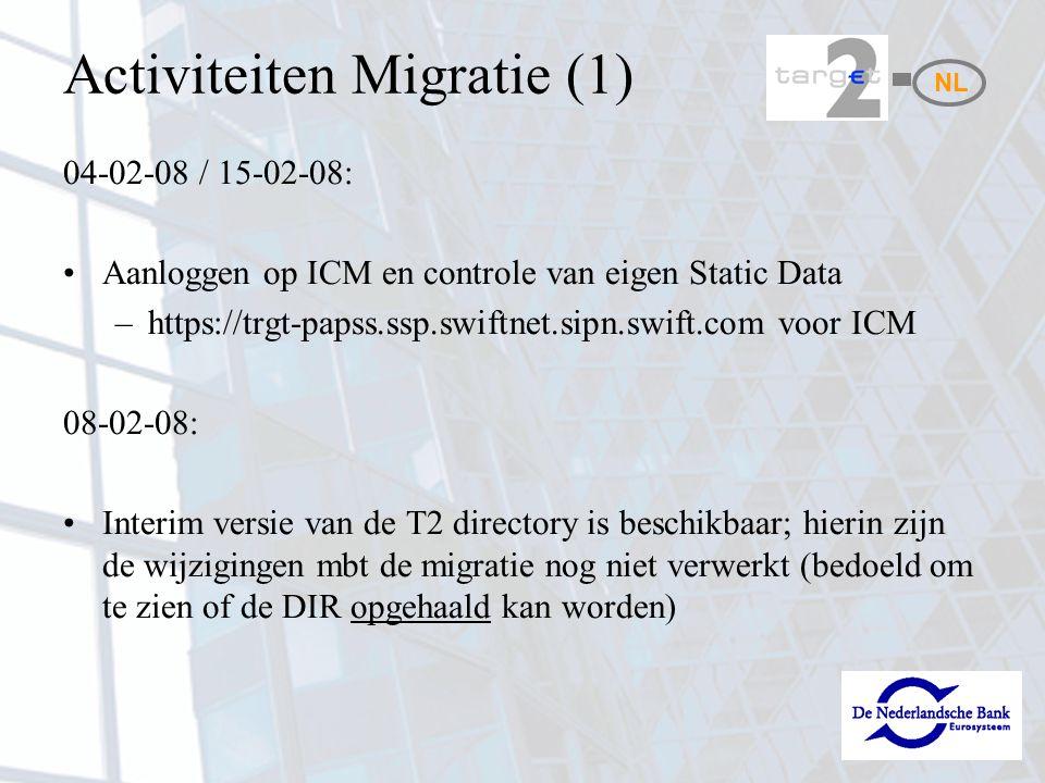 Activiteiten Migratie (1) 04-02-08 / 15-02-08: Aanloggen op ICM en controle van eigen Static Data –https://trgt-papss.ssp.swiftnet.sipn.swift.com voor
