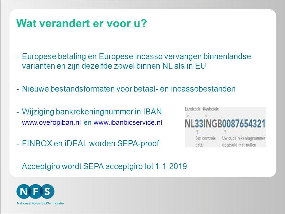Wat verandert er voor u? -Europese betaling en Europese incasso vervangen binnenlandse varianten en zijn dezelfde zowel binnen NL als in EU -Nieuwe be