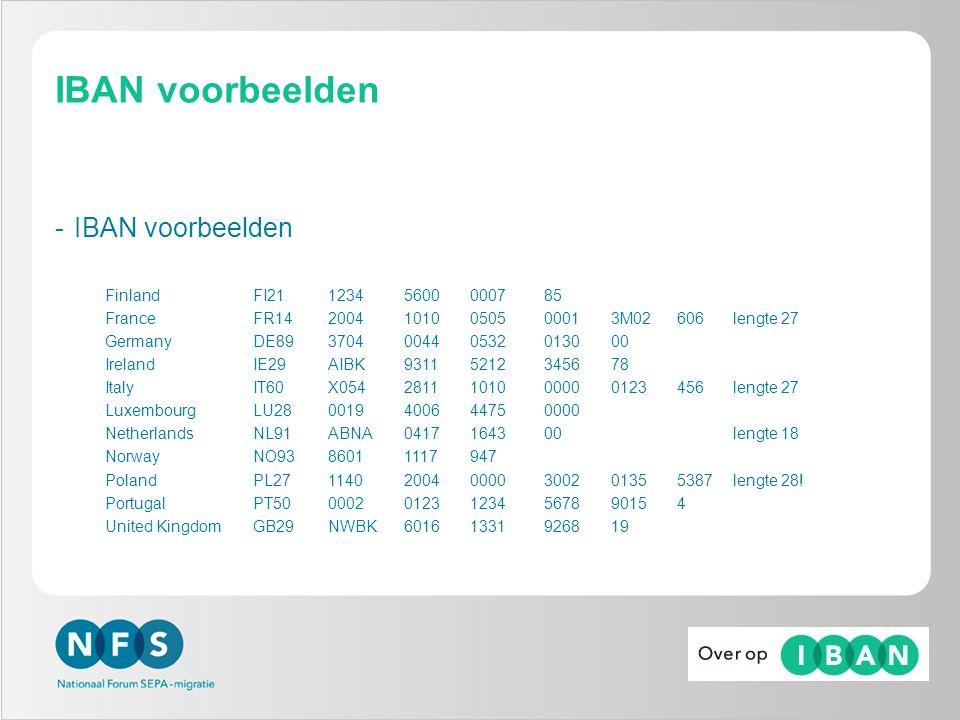IBAN voorbeelden -IBAN voorbeelden FinlandFI21 1234 5600 0007 85 FranceFR14 2004 1010 0505 0001 3M02 606 lengte 27 GermanyDE89 3704 0044 0532 0130 00