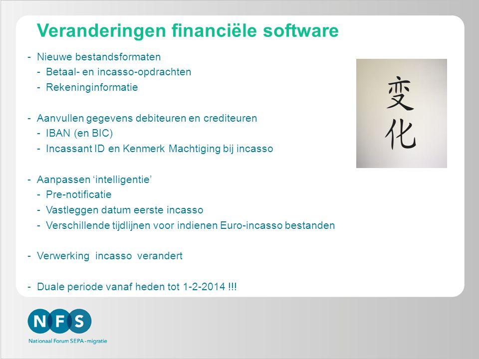 Veranderingen financiële software -Nieuwe bestandsformaten -Betaal- en incasso-opdrachten -Rekeninginformatie -Aanvullen gegevens debiteuren en credit