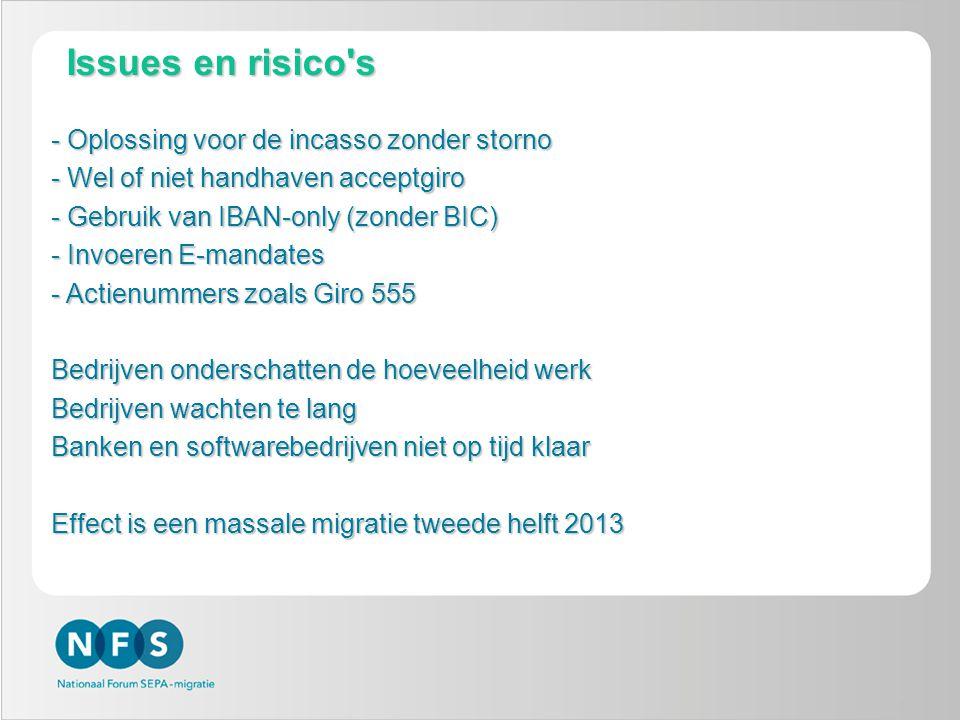 9 Issues en risico's - Oplossing voor de incasso zonder storno - Wel of niet handhaven acceptgiro - Gebruik van IBAN-only (zonder BIC) - Invoeren E-ma