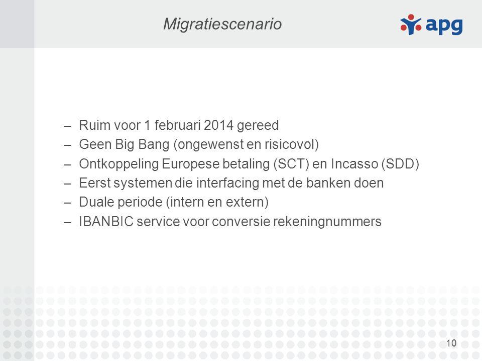 10 Migratiescenario –Ruim voor 1 februari 2014 gereed –Geen Big Bang (ongewenst en risicovol) –Ontkoppeling Europese betaling (SCT) en Incasso (SDD) –