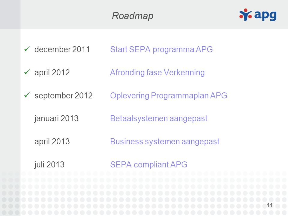11 december 2011Start SEPA programma APG april 2012Afronding fase Verkenning september 2012Oplevering Programmaplan APG januari 2013Betaalsystemen aangepast april 2013Business systemen aangepast juli 2013SEPA compliant APG Roadmap