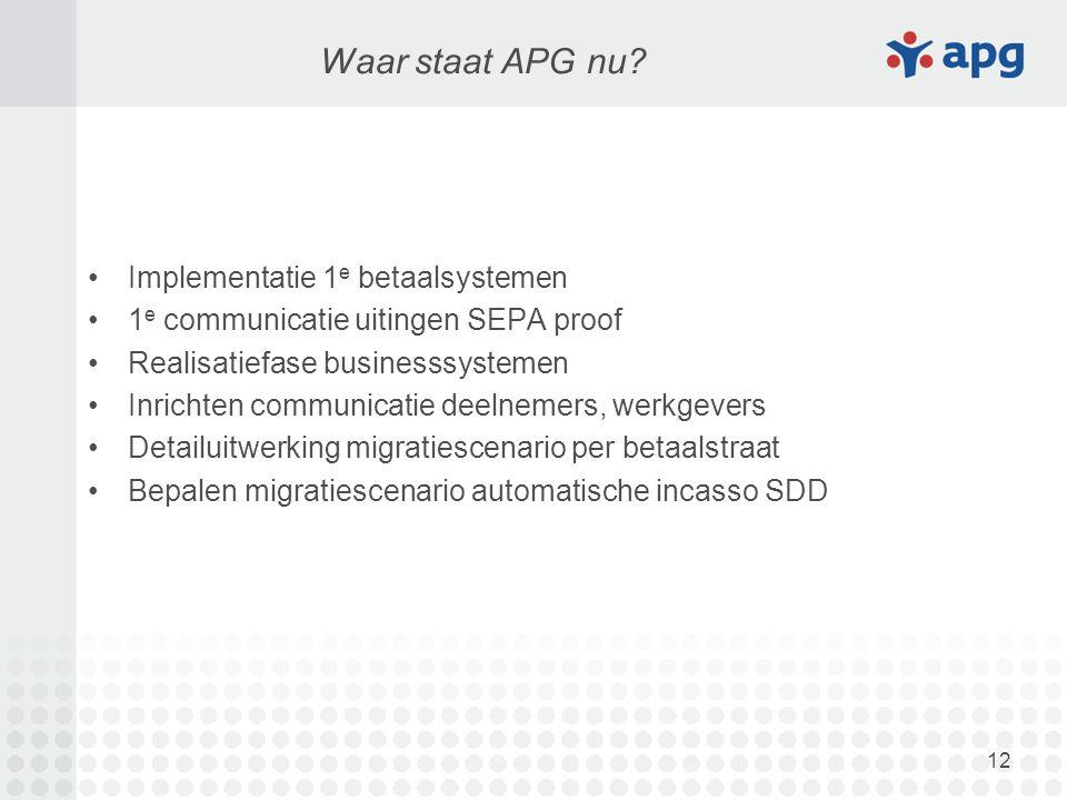 12 Waar staat APG nu? Implementatie 1 e betaalsystemen 1 e communicatie uitingen SEPA proof Realisatiefase businesssystemen Inrichten communicatie dee
