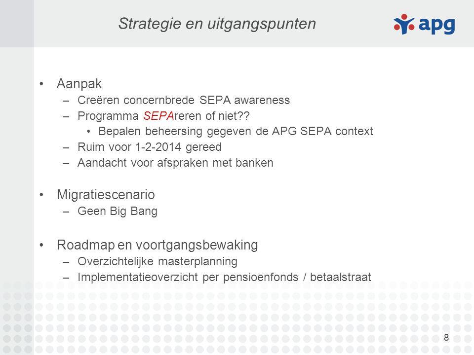 8 Strategie en uitgangspunten Aanpak –Creëren concernbrede SEPA awareness –Programma SEPAreren of niet?? Bepalen beheersing gegeven de APG SEPA contex