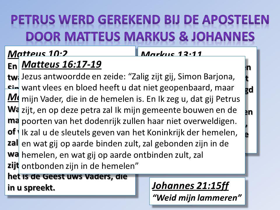 Matteus Efeziërs Hebreeën Markus FilippenzenJacobus Lukas Kolossenzen 1 Petrus Johannes 1 Thessalonissenzen 2 Petrus Handelingen2 Thessalonissenzen 1 Johannes Romeinen1 Timotheus2 Johannes 1 Korintiërs 2 Timotheus 3 Johannes 2 Korintiërs Titus Judas Galaten Filemon Openbaring Matteus 10:2 En dit zijn de namen van de twaalf apostelen: vooreerst Simon, genaamd Petrus… Matteus 10:2 En dit zijn de namen van de twaalf apostelen: vooreerst Simon, genaamd Petrus… Matteus 10:19-20 Wanneer zij u overleveren, maakt u dan niet bezorgd, hoe of wat gij spreken zult; want het zal u in die ure gegeven worden wat gij spreken moet; want gij zijt het niet, die spreekt, doch het is de Geest uws Vaders, die in u spreekt.