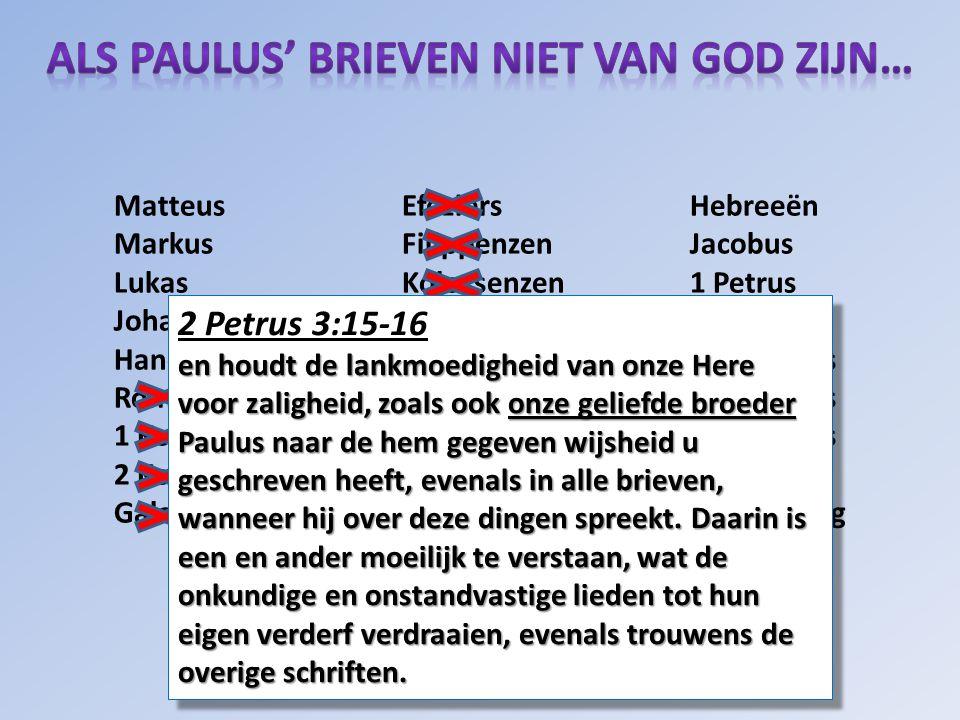 Matteus Efeziërs Hebreeën Markus FilippenzenJacobus Lukas Kolossenzen 1 Petrus Johannes 1 Thessalonissenzen 2 Petrus Handelingen2 Thessalonissenzen 1