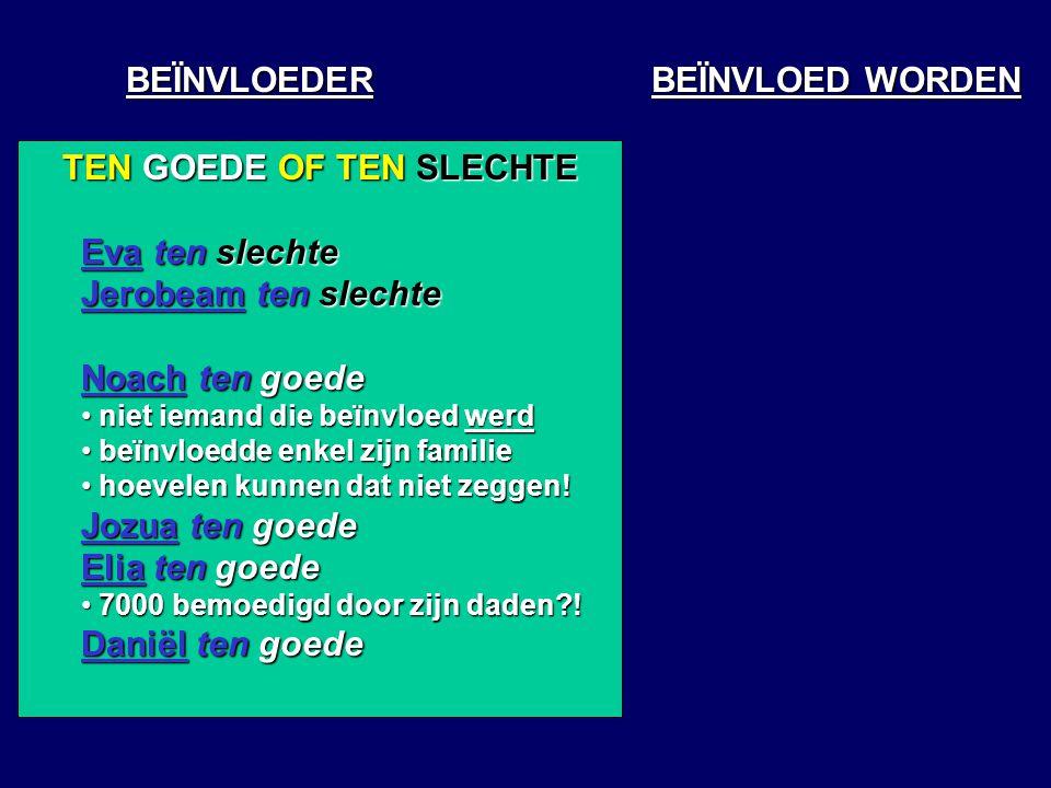 BEÏNVLOEDER BEÏNVLOED WORDEN TEN GOEDE OF TEN SLECHTE Eva ten slechte Jerobeam ten slechte Noach ten goede niet iemand die beïnvloed werd niet iemand die beïnvloed werd beïnvloedde enkel zijn familie beïnvloedde enkel zijn familie hoevelen kunnen dat niet zeggen.