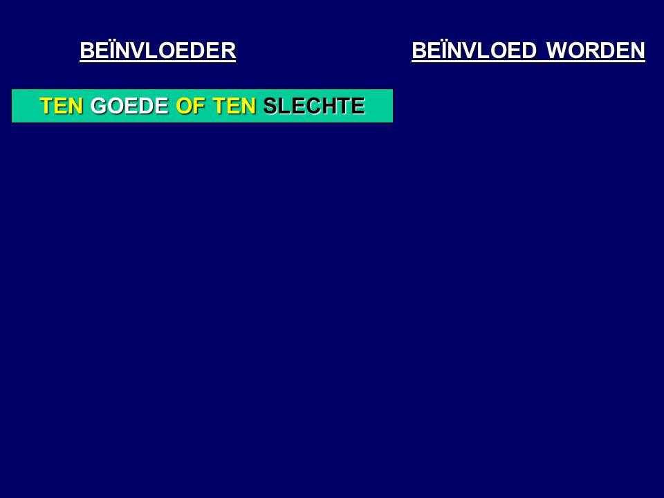BEÏNVLOEDER BEÏNVLOED WORDEN TEN GOEDE OF TEN SLECHTE