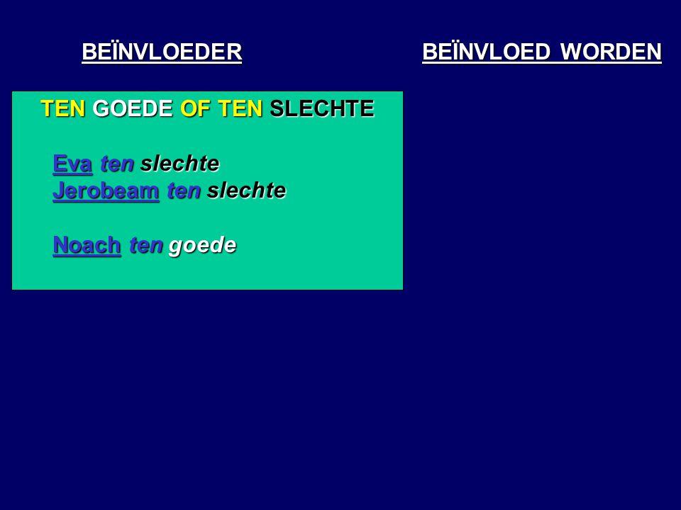 BEÏNVLOEDER BEÏNVLOED WORDEN TEN GOEDE OF TEN SLECHTE Eva ten slechte Jerobeam ten slechte Noach ten goede