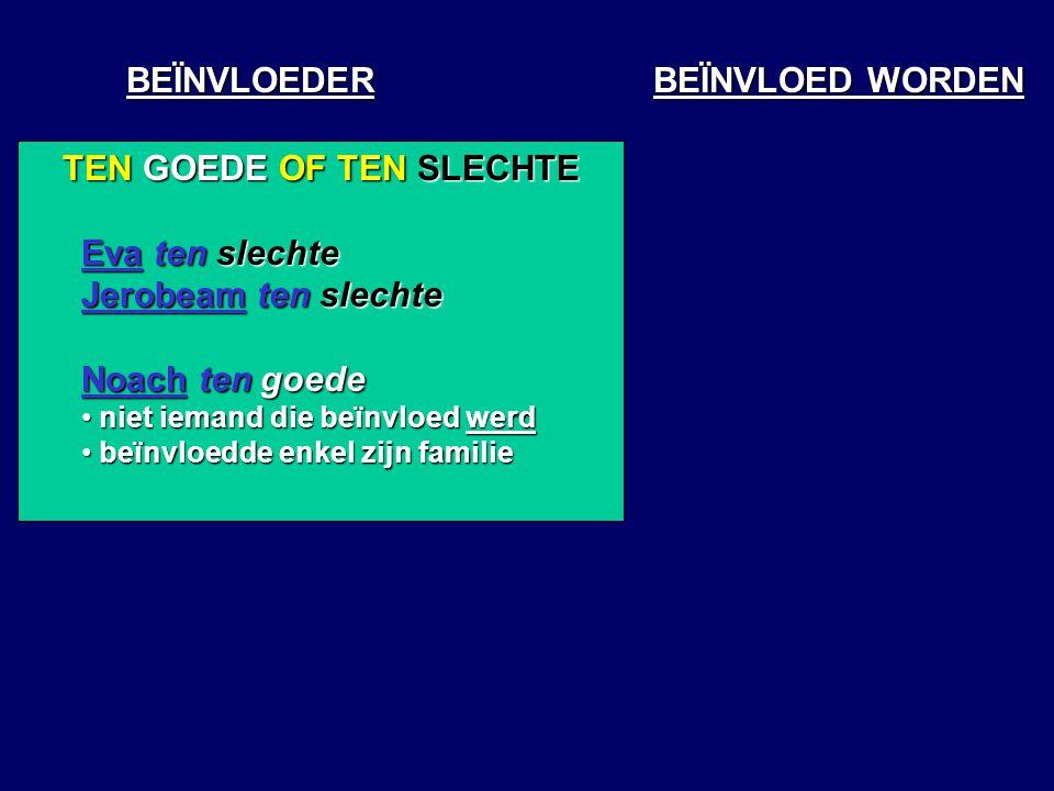 BEÏNVLOEDER BEÏNVLOED WORDEN TEN GOEDE OF TEN SLECHTE Eva ten slechte Jerobeam ten slechte Noach ten goede niet iemand die beïnvloed werd niet iemand die beïnvloed werd beïnvloedde enkel zijn familie beïnvloedde enkel zijn familie