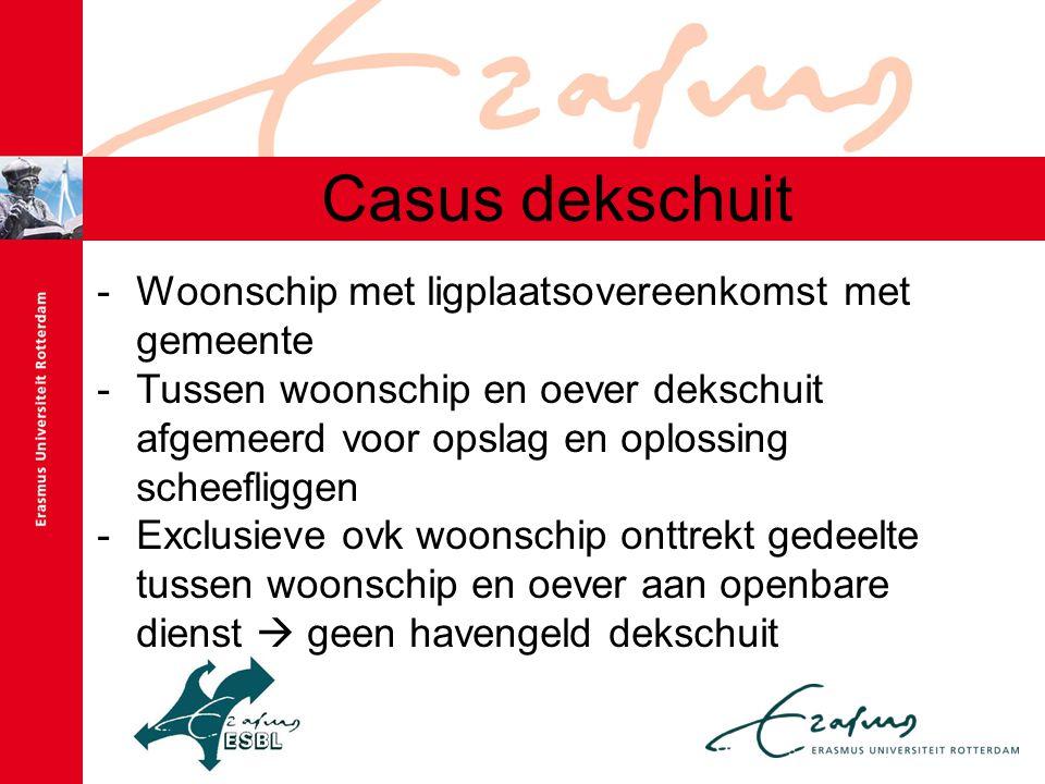 Casus dekschuit -Woonschip met ligplaatsovereenkomst met gemeente -Tussen woonschip en oever dekschuit afgemeerd voor opslag en oplossing scheefliggen