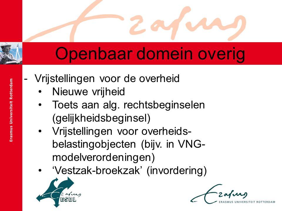Openbaar domein overig -Vrijstellingen voor de overheid Nieuwe vrijheid Toets aan alg. rechtsbeginselen (gelijkheidsbeginsel) Vrijstellingen voor over