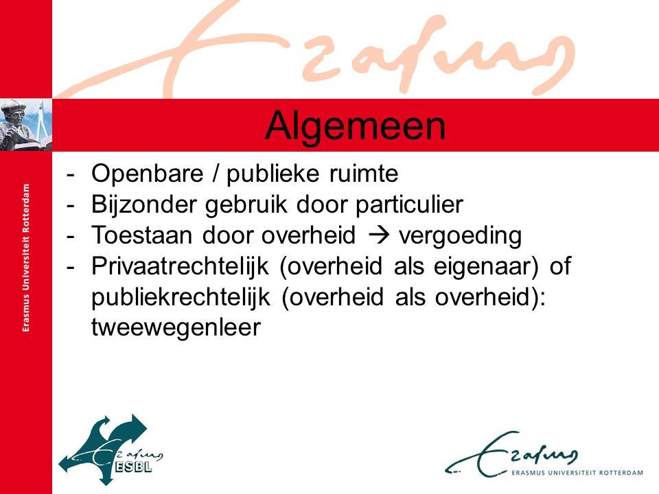 Algemeen -Openbare / publieke ruimte -Bijzonder gebruik door particulier -Toestaan door overheid  vergoeding -Privaatrechtelijk (overheid als eigenaa