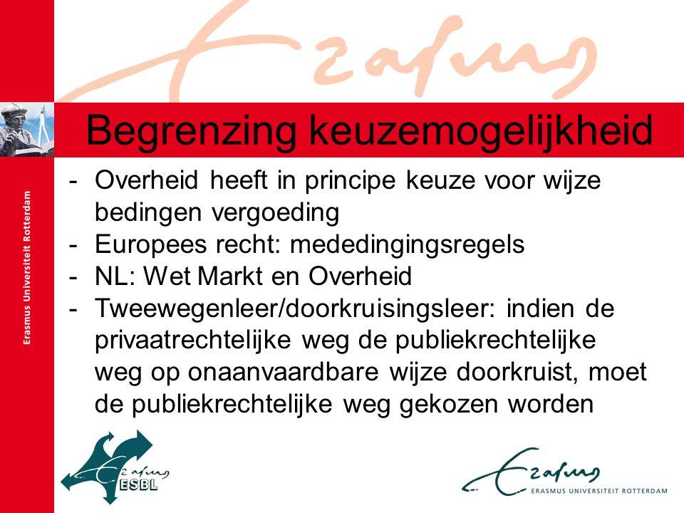 Begrenzing keuzemogelijkheid -Overheid heeft in principe keuze voor wijze bedingen vergoeding -Europees recht: mededingingsregels -NL: Wet Markt en Overheid -Tweewegenleer/doorkruisingsleer: indien de privaatrechtelijke weg de publiekrechtelijke weg op onaanvaardbare wijze doorkruist, moet de publiekrechtelijke weg gekozen worden