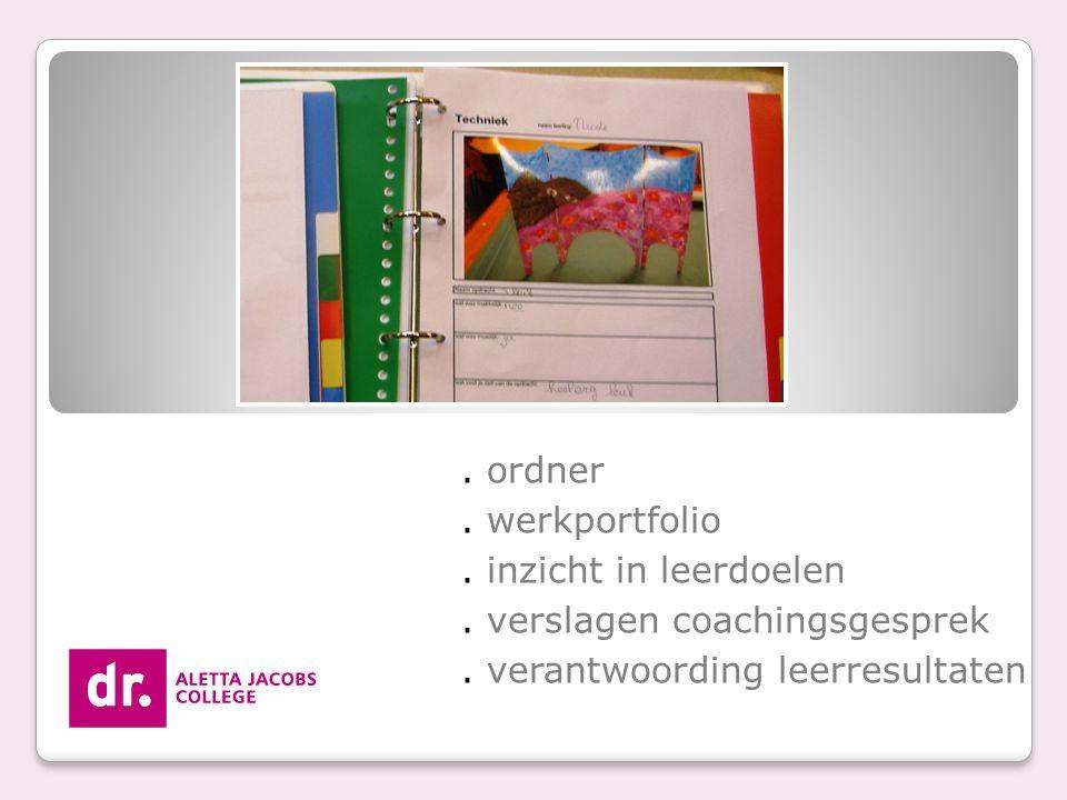 ordner.werkportfolio. inzicht in leerdoelen. verslagen coachingsgesprek.