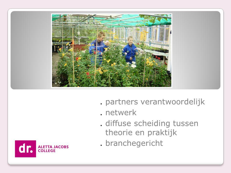 . partners verantwoordelijk. netwerk. diffuse scheiding tussen theorie en praktijk. branchegericht