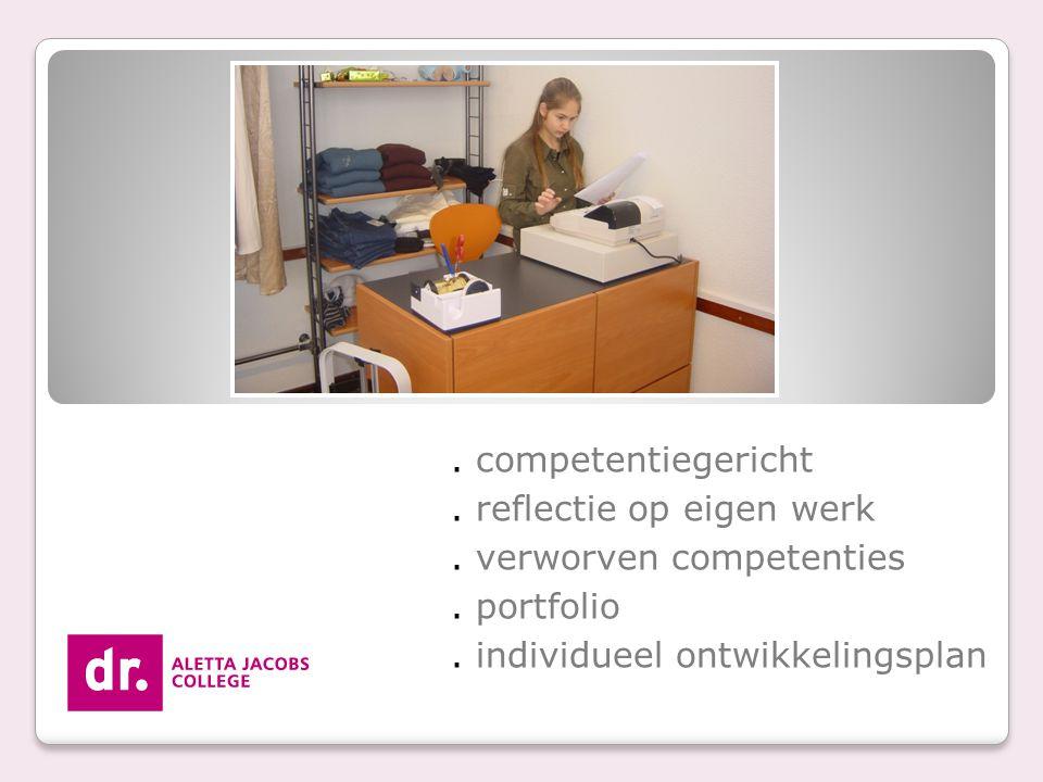 . competentiegericht. reflectie op eigen werk. verworven competenties. portfolio. individueel ontwikkelingsplan
