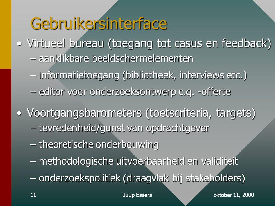 oktober 11, 2000Juup Essers11 Gebruikersinterface Virtueel bureau (toegang tot casus en feedback)Virtueel bureau (toegang tot casus en feedback) –aanklikbare beeldschermelementen –informatietoegang (bibliotheek, interviews etc.) –editor voor onderzoeksontwerp c.q.