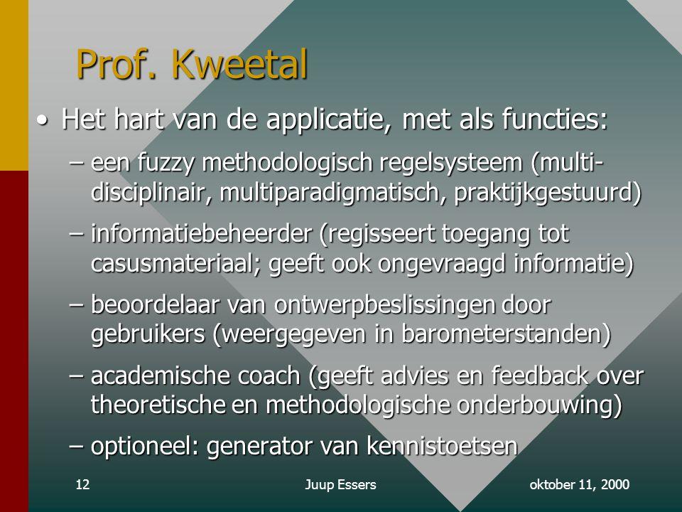 oktober 11, 2000Juup Essers12 Prof.