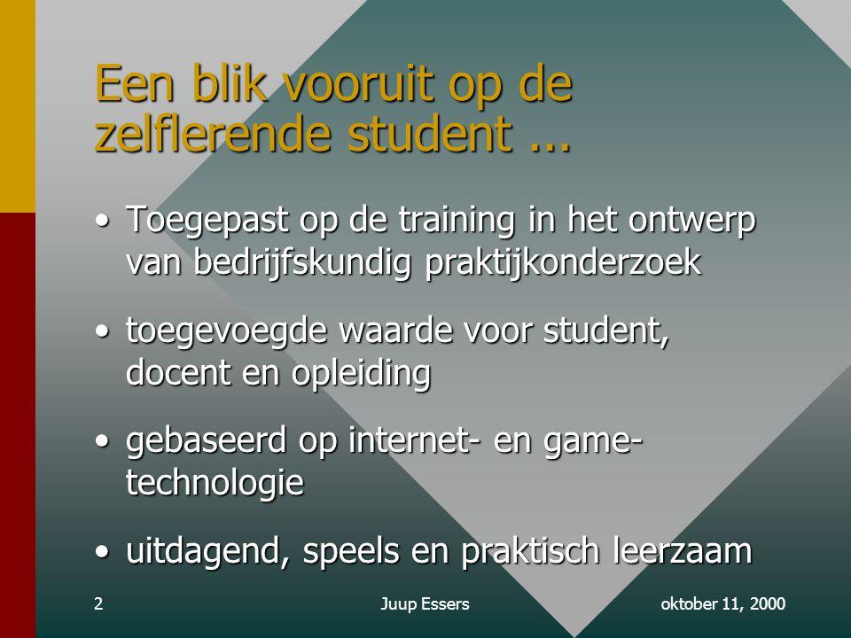 oktober 11, 2000Juup Essers2 Een blik vooruit op de zelflerende student...