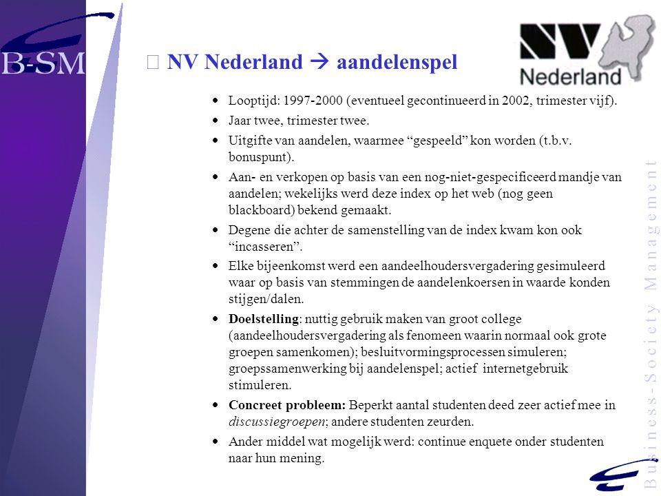 B u s i n e s s - S o c i e t y M a n a g e m e n t  NV Nederland  aandelenspel  Looptijd: 1997-2000 (eventueel gecontinueerd in 2002, trimester vi