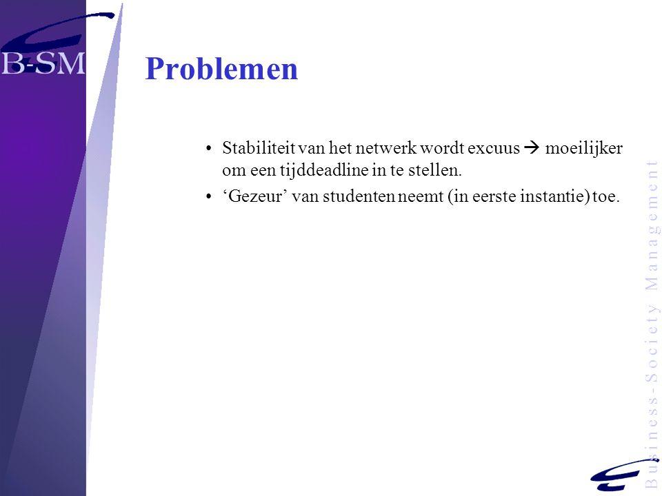 B u s i n e s s - S o c i e t y M a n a g e m e n t Problemen Stabiliteit van het netwerk wordt excuus  moeilijker om een tijddeadline in te stellen.