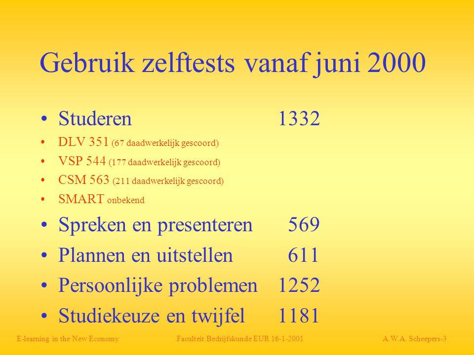 Gebruik zelftests vanaf juni 2000 Studeren 1332 DLV 351 (67 daadwerkelijk gescoord) VSP 544 (177 daadwerkelijk gescoord) CSM 563 (211 daadwerkelijk gescoord) SMART onbekend Spreken en presenteren 569 Plannen en uitstellen 611 Persoonlijke problemen 1252 Studiekeuze en twijfel 1181 E-learning in the New Economy Faculteit Bedrijfskunde EUR 16-1-2001 A.W.A.