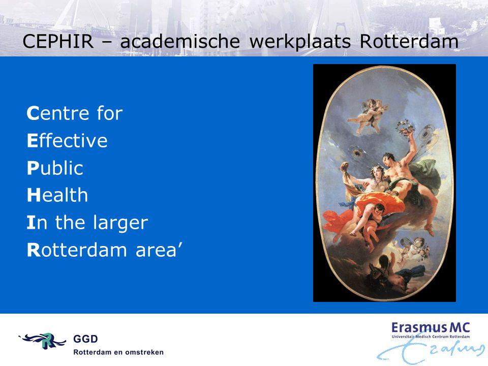 Gemeenschappelijke elementen Gezondheidsproblemen die vaak voorkomen in Rotterdam Achterstandsgroepen Ophelderen van persoonlijke en omgevings- determinanten, of Ontwikkelen en invoeren van 'tailored' en/of 'targeted' interventies
