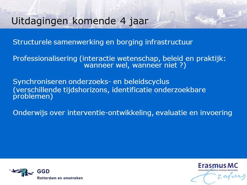 Uitdagingen komende 4 jaar Structurele samenwerking en borging infrastructuur Professionalisering (interactie wetenschap, beleid en praktijk: wanneer