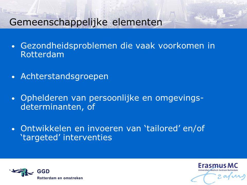 Gemeenschappelijke elementen Gezondheidsproblemen die vaak voorkomen in Rotterdam Achterstandsgroepen Ophelderen van persoonlijke en omgevings- determ