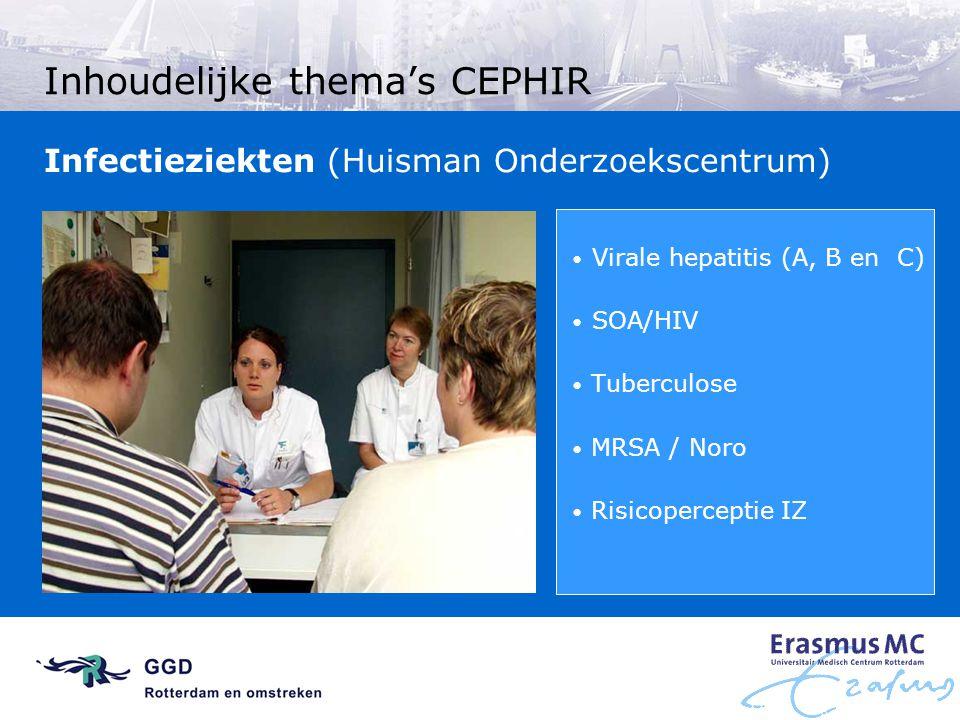 Inhoudelijke thema's CEPHIR Virale hepatitis (A, B en C) SOA/HIV Tuberculose MRSA / Noro Risicoperceptie IZ Infectieziekten (Huisman Onderzoekscentrum
