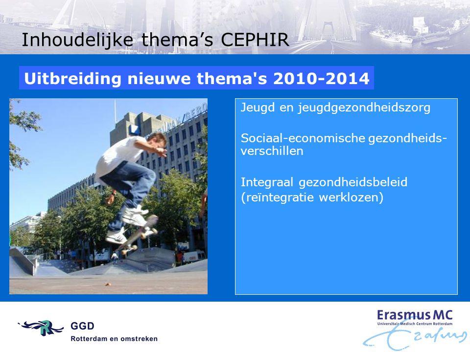 Inhoudelijke thema's CEPHIR Jeugd en jeugdgezondheidszorg Sociaal-economische gezondheids- verschillen Integraal gezondheidsbeleid (reïntegratie werkl