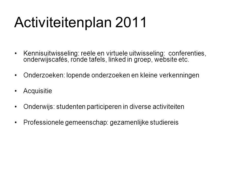 Activiteitenplan 2011 Kennisuitwisseling: reële en virtuele uitwisseling: conferenties, onderwijscafés, ronde tafels, linked in groep, website etc. On