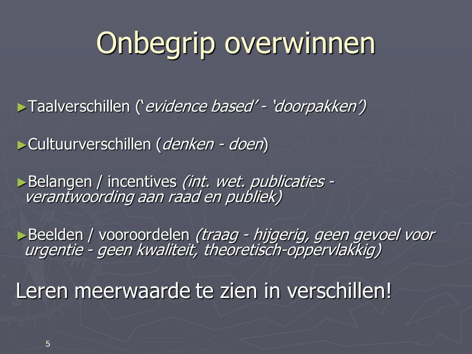 Onbegrip overwinnen ► Taalverschillen ('evidence based' - 'doorpakken') ► Cultuurverschillen (denken - doen) ► Belangen / incentives (int.