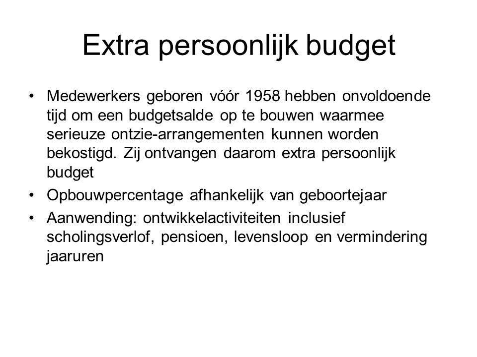 Extra persoonlijk budget Medewerkers geboren vóór 1958 hebben onvoldoende tijd om een budgetsalde op te bouwen waarmee serieuze ontzie-arrangementen kunnen worden bekostigd.