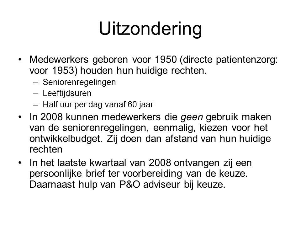 Uitzondering Medewerkers geboren voor 1950 (directe patientenzorg: voor 1953) houden hun huidige rechten.