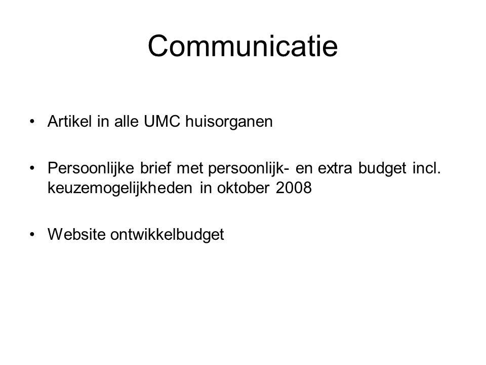 Communicatie Artikel in alle UMC huisorganen Persoonlijke brief met persoonlijk- en extra budget incl. keuzemogelijkheden in oktober 2008 Website ontw