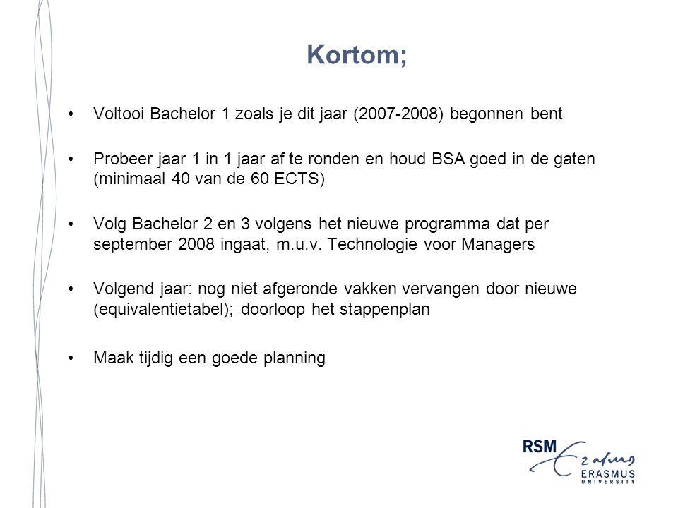 Kortom; Voltooi Bachelor 1 zoals je dit jaar (2007-2008) begonnen bent Probeer jaar 1 in 1 jaar af te ronden en houd BSA goed in de gaten (minimaal 40 van de 60 ECTS) Volg Bachelor 2 en 3 volgens het nieuwe programma dat per september 2008 ingaat, m.u.v.
