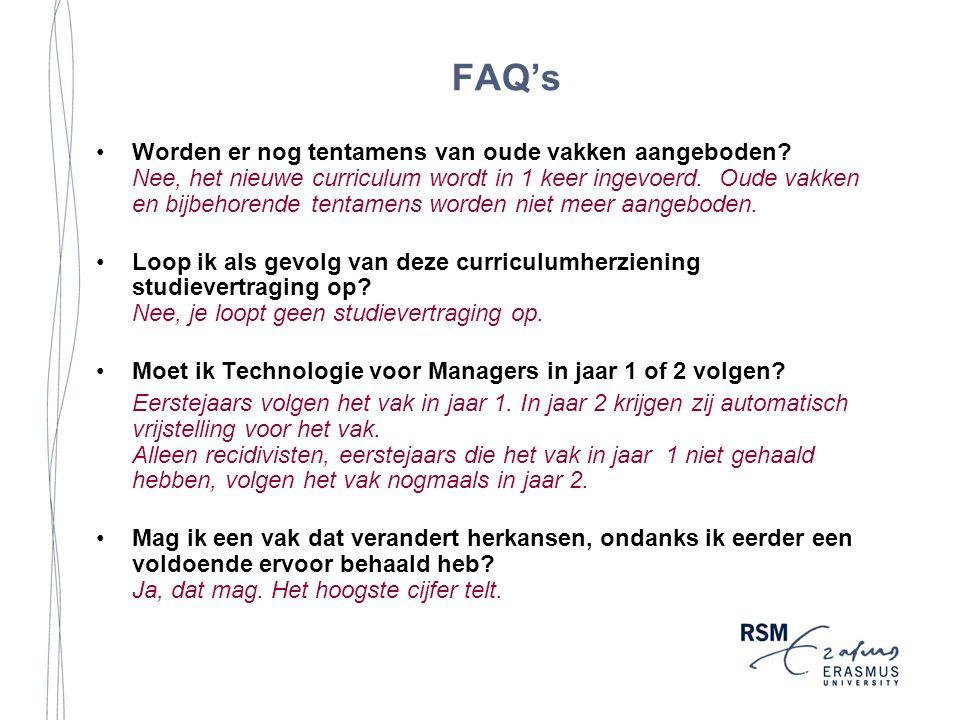 FAQ's Worden er nog tentamens van oude vakken aangeboden.