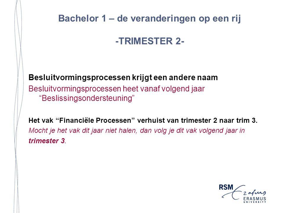 Bachelor 1 – de veranderingen op een rij -TRIMESTER 2- Besluitvormingsprocessen krijgt een andere naam Besluitvormingsprocessen heet vanaf volgend jaar Beslissingsondersteuning Het vak Financiële Processen verhuist van trimester 2 naar trim 3.
