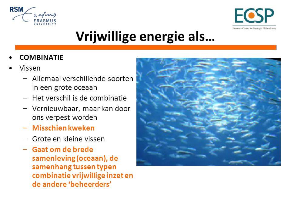 Vrijwillige energie als… COMBINATIE Vissen –Allemaal verschillende soorten in een grote oceaan –Het verschil is de combinatie –Vernieuwbaar, maar kan door ons verpest worden –Misschien kweken –Grote en kleine vissen –Gaat om de brede samenleving (oceaan), de samenhang tussen typen combinatie vrijwillige inzet en de andere 'beheerders'