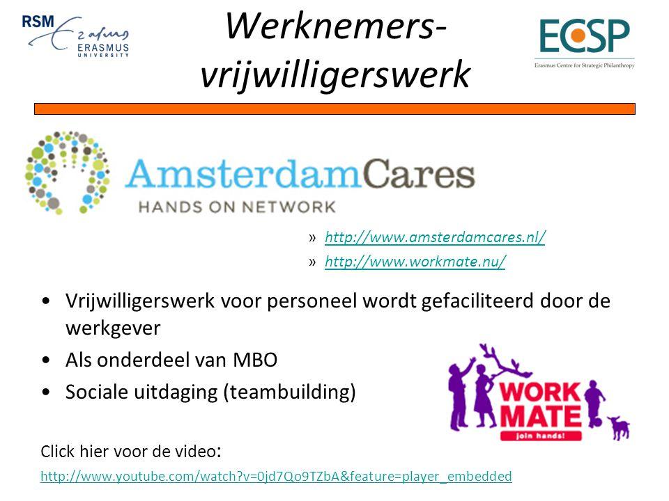 Werknemers- vrijwilligerswerk »http://www.amsterdamcares.nl/http://www.amsterdamcares.nl/ »http://www.workmate.nu/http://www.workmate.nu/ Vrijwilligerswerk voor personeel wordt gefaciliteerd door de werkgever Als onderdeel van MBO Sociale uitdaging (teambuilding) Click hier voor de video : http://www.youtube.com/watch v=0jd7Qo9TZbA&feature=player_embedded